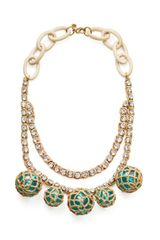 Tory Burch Crochet Bead and Raffia Crystal Necklace - Lyst