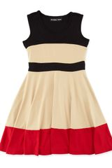 Un Deux Trois Colorblock Jersey Dress Blacktanred 714 Years - Lyst