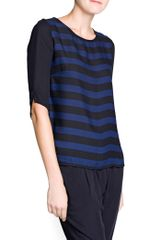 Mango Contrast Sleeve Striped Blouse - Lyst