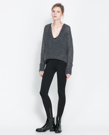 Zara Zip Leggings In Black