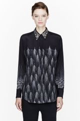 3.1 Phillip Lim Black Wheat Print Beaded Collar Geo Blouse - Lyst
