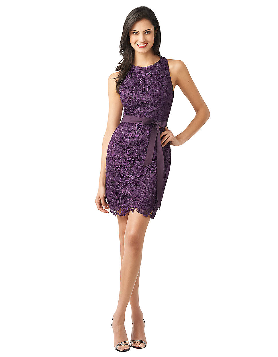 Adrianna papell Guipure Lace Racerback Dress in Purple | Lyst