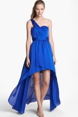 Aidan Mattox One Shoulder Satin Dress - Lyst