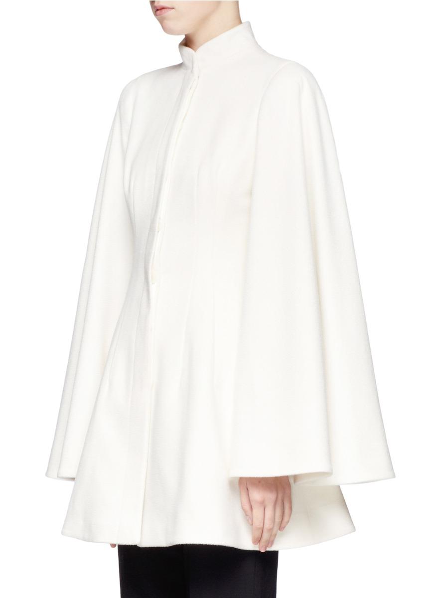 Alexander mcqueen Cashmere Cape Coat in White | Lyst