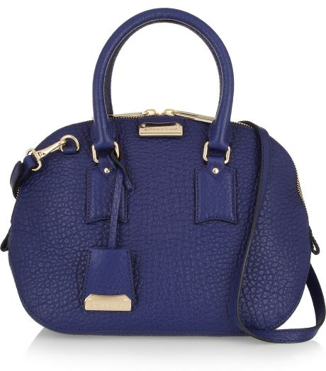 Burberry Small Texturedleather Bowling Bag in Blue