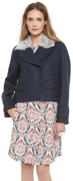 Carven Coat with Faux Fur Collar - Lyst