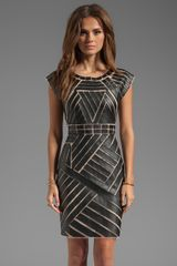 Catherine Malandrino Avalon Dress with Faux Leather Applique in Black - Lyst