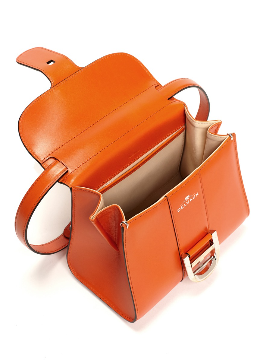Delvaux Brilliant Mini Box Leather Shoulder Bag in Orange ...