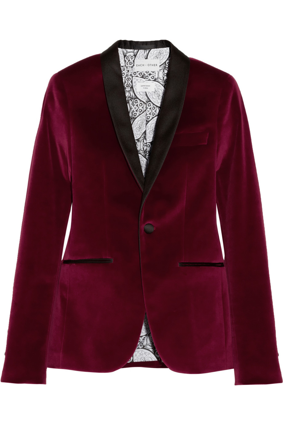 Lyst Each X Other Satin Trimmed Velvet Tuxedo Blazer In Red
