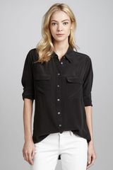 Equipment Signature Silk Blouse True Black - Lyst