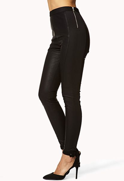 Forever 21 High Waisted Faux Leather Pants In Black Lyst
