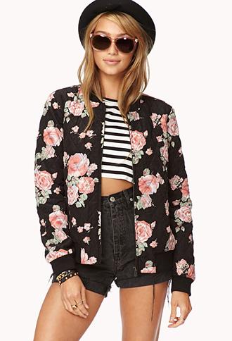 Forever 21 Wild Rose Quilted Bomber Jacket You Ve Been
