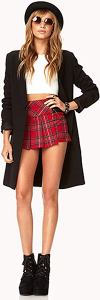 21 Cool Nail Art Ideas: Forever 21 Cool Girl Plaid Skort In Red (RED/BLACK)