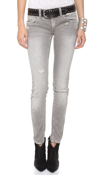 Free people Destroyed Relaxed Skinny Jeans in Gray | Lyst