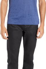 John Varvatos Heathered Burnout Detailed V-neck Tee - Lyst