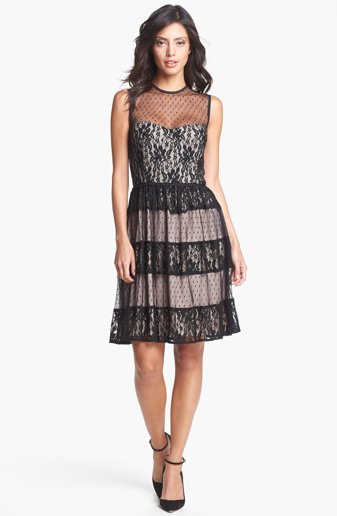 Maggy London Mixed Lace Fit Flare Dress In Black Lyst
