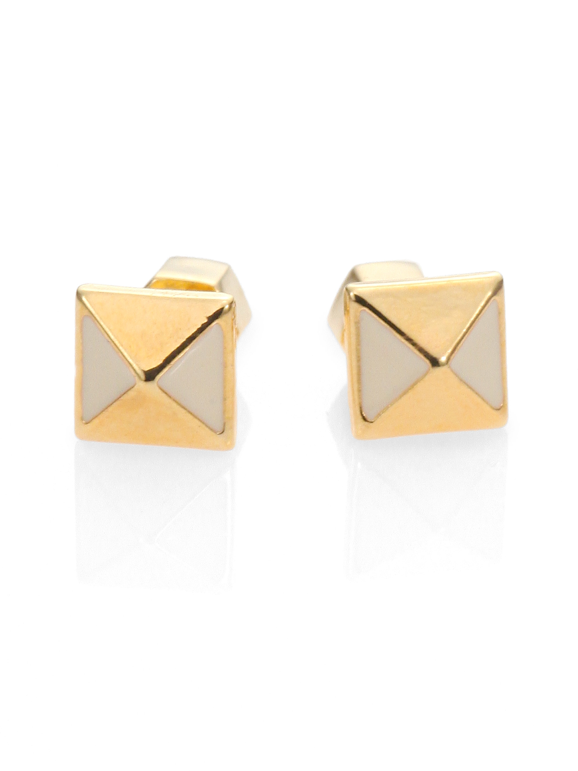 gold iced out pyramid img stud niv earrings bling products s white
