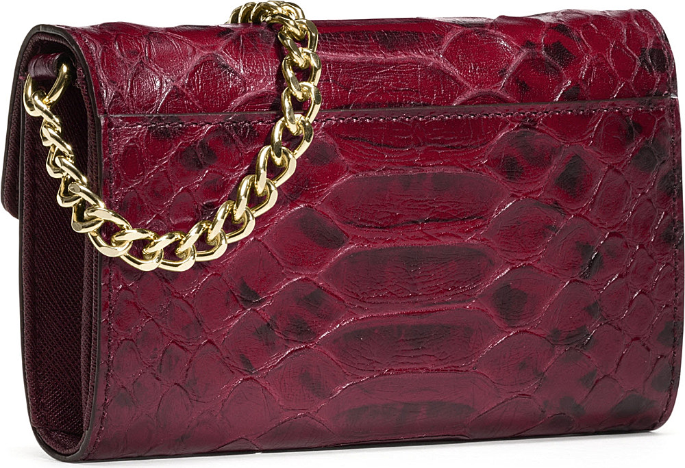 05fb90d8e143 Michael Kors Mock Python Leather Iphone Crossbody Bag in Purple - Lyst