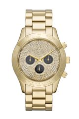 Michael Kors Midsize Golden Stainless Steel Layton Glitz Watch - Lyst