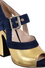 Miu Miu Metallic Mary Jane Sandal - Lyst