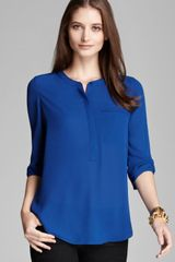 Nydj Three Quarter Sleeve Pleated Top - Lyst