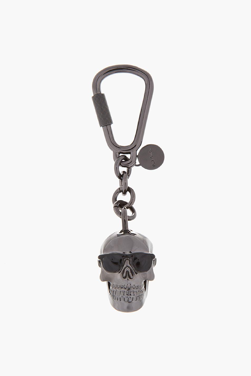 Paul Smith Black Brass Dressed Skull Pendant Keychain In