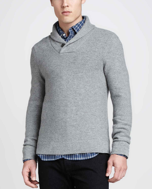Rag & bone Graham Shawl Pullover Sweater Light Gray in Gray for ...
