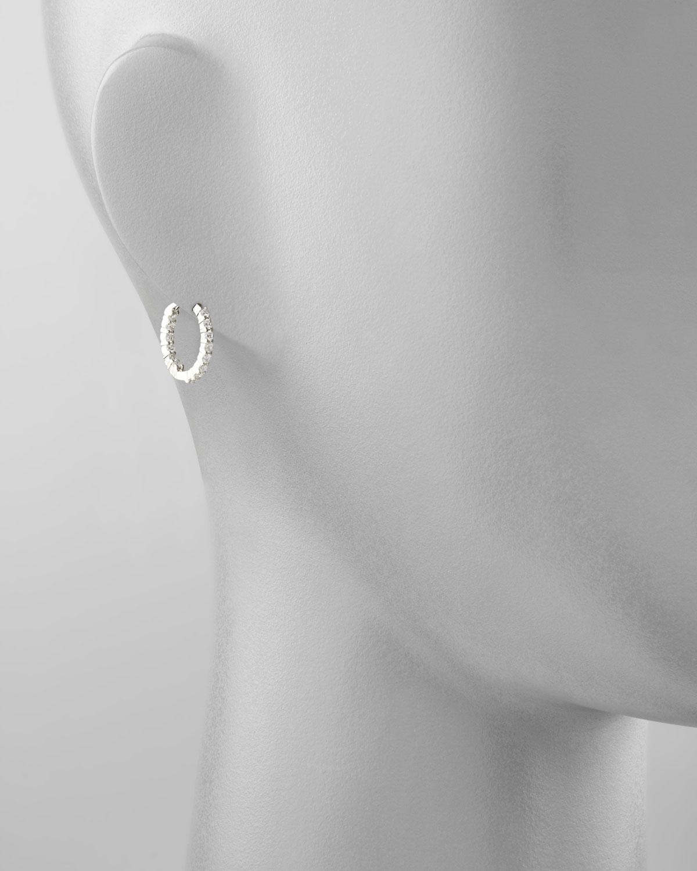 Lyst - Roberto Coin 16mm White Gold Diamond Huggie Hoop Earrings ...
