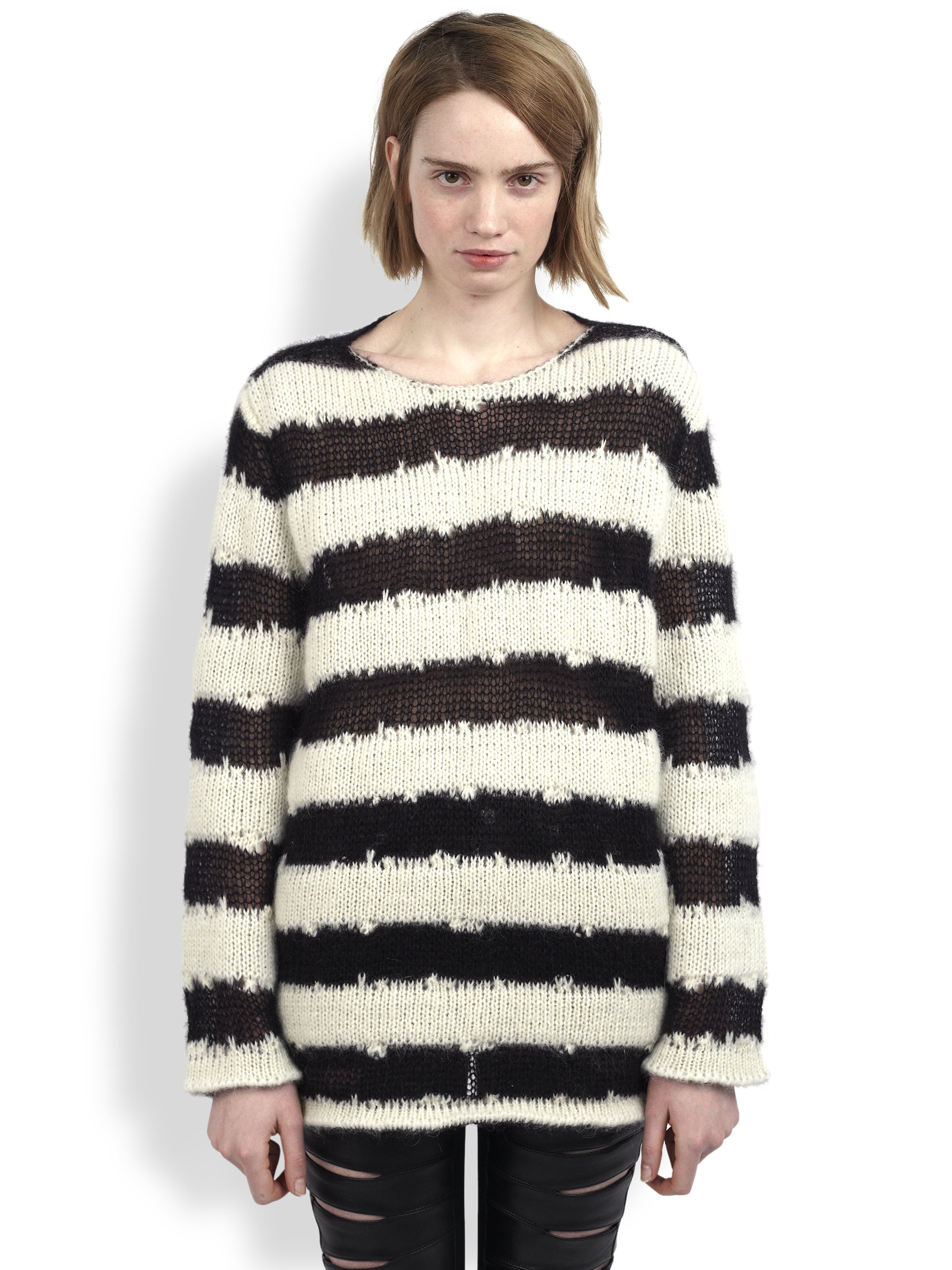 Saint laurent Oversized Striped Sweater in Black | Lyst