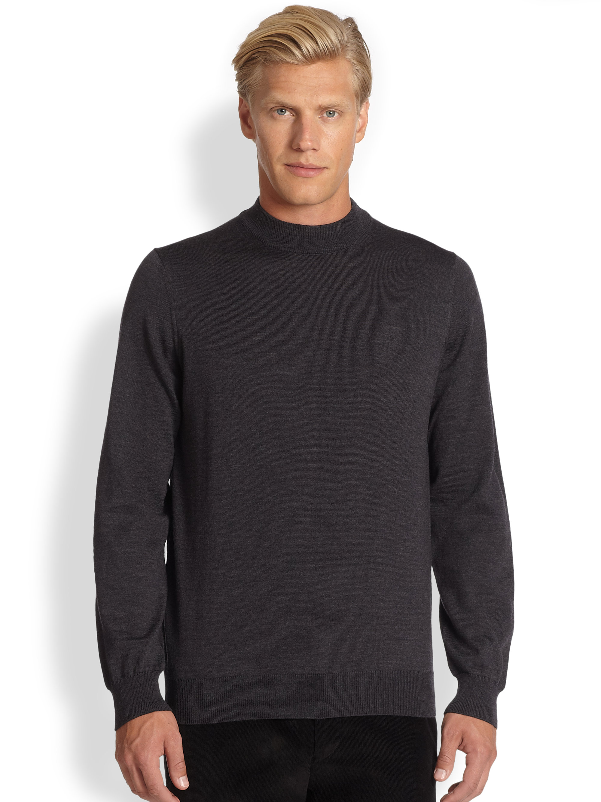 Saks fifth avenue black label Wool Mock Turtleneck Sweater in Gray ...