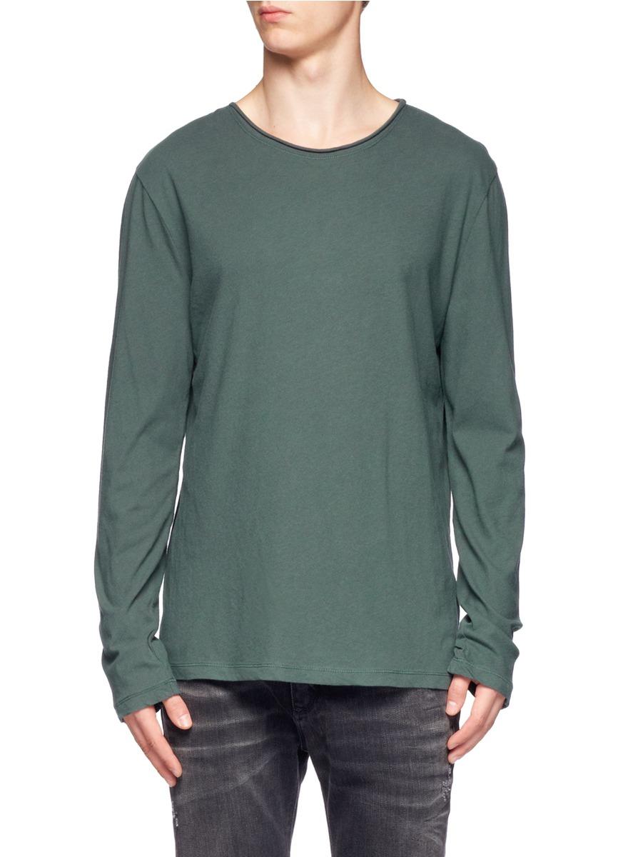 T By Alexander Wang Cotton Long Sleeve Wide Neck T Shirt