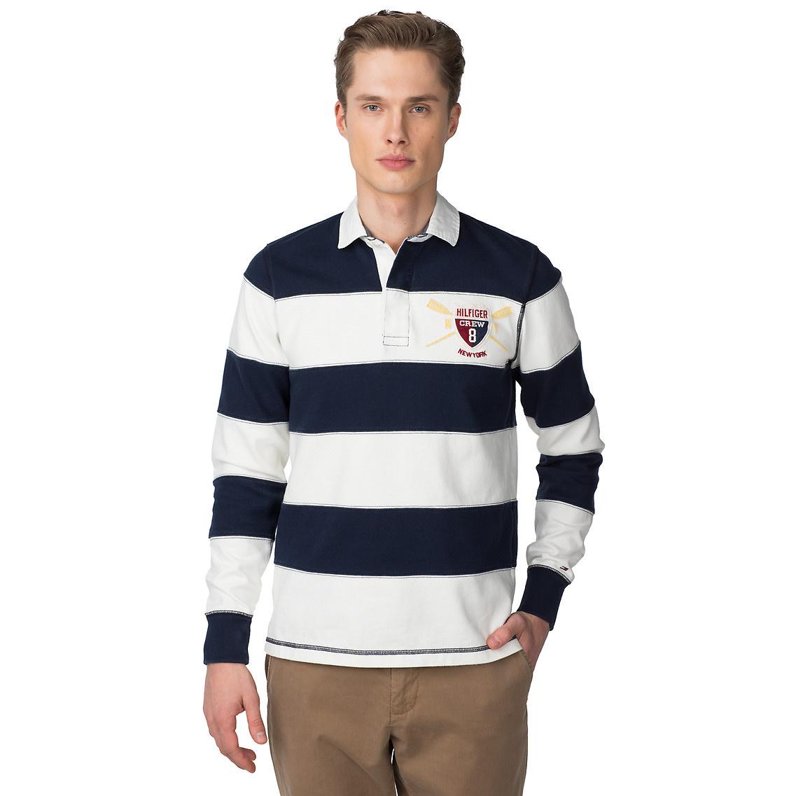tommy hilfiger cliff slim fit rugby sweatshirt in blue for. Black Bedroom Furniture Sets. Home Design Ideas