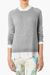 Topshop Raglan Sleeve Knit Sweater - Lyst