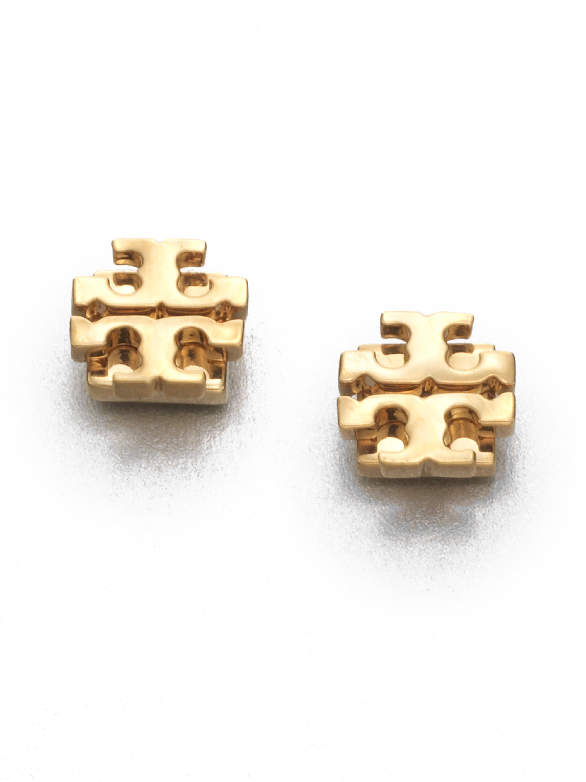 8ba969754 Tory Burch T Logo Small Stud Earrings/Goldtone in Metallic - Lyst