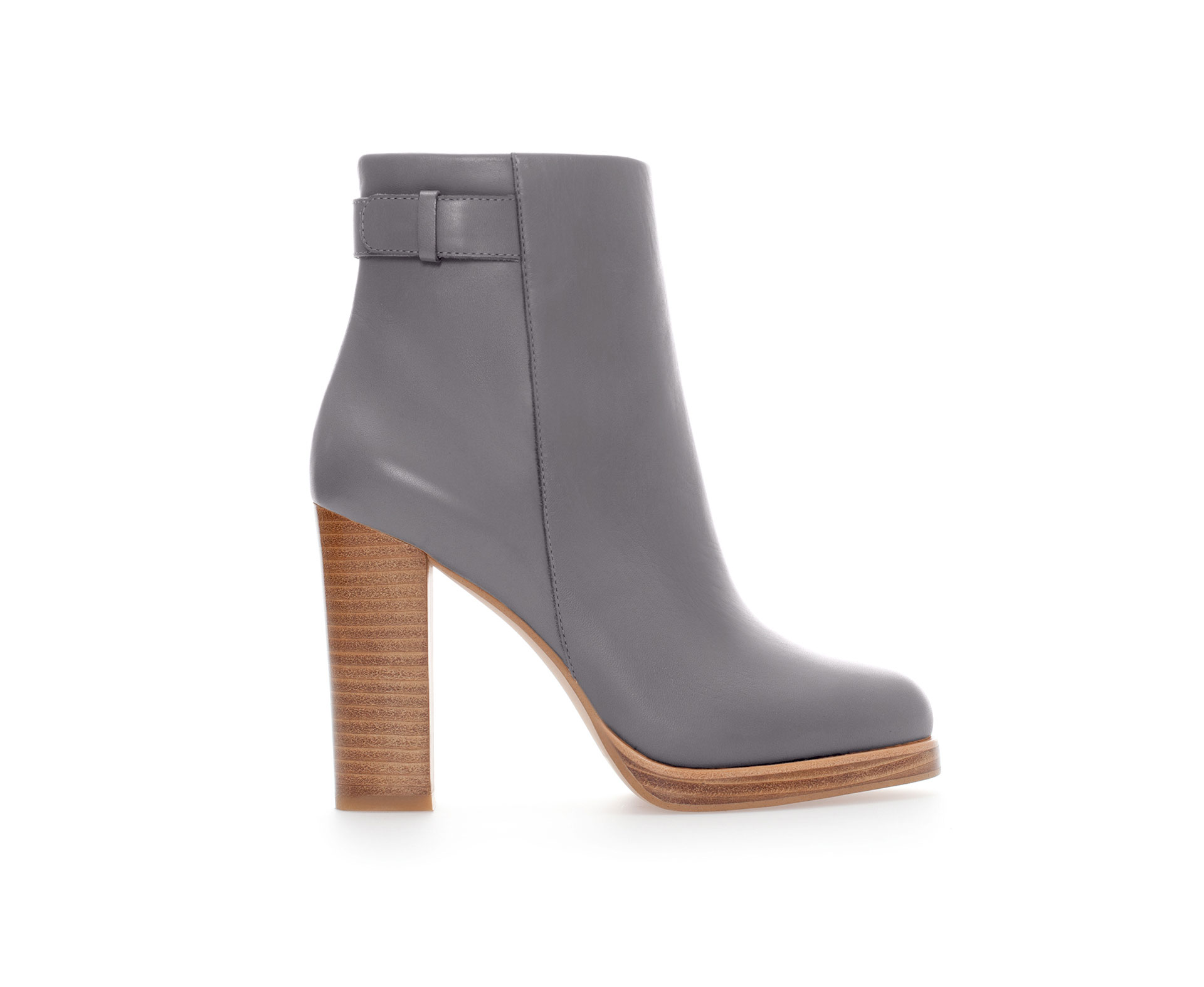 Zara Leather Ankle Boot with Strap in Gray | Lyst