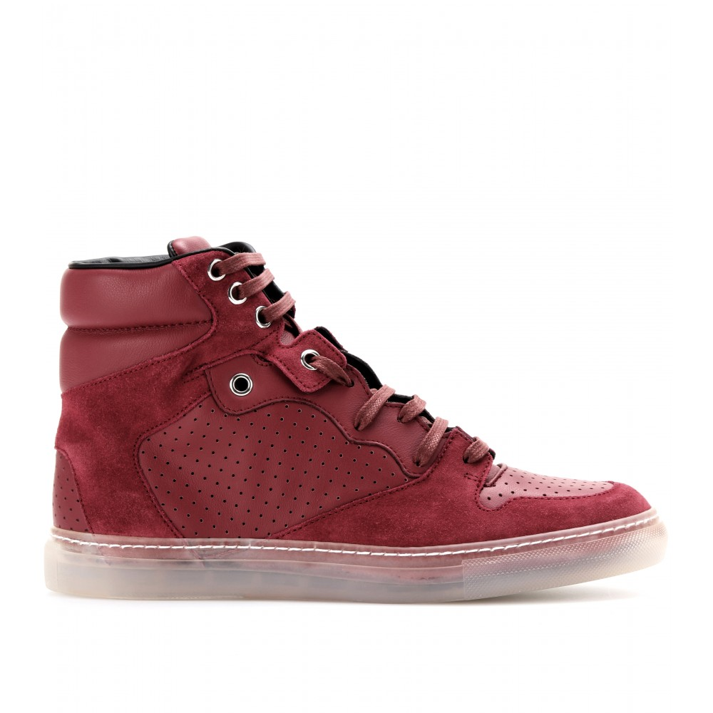 balenciaga leather and suede hightop sneakers in red lyst. Black Bedroom Furniture Sets. Home Design Ideas