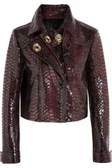 Burberry Prorsum Cropped Croc Effect Glossed Leather Jacket - Lyst