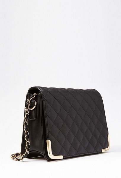 Forever 21 Quilted Metal Trim Crossbody Bag in Black