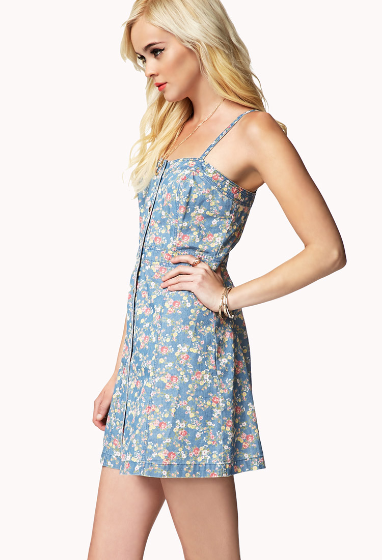 1fa9c2243c96 Denim Floral Dress Forever 21