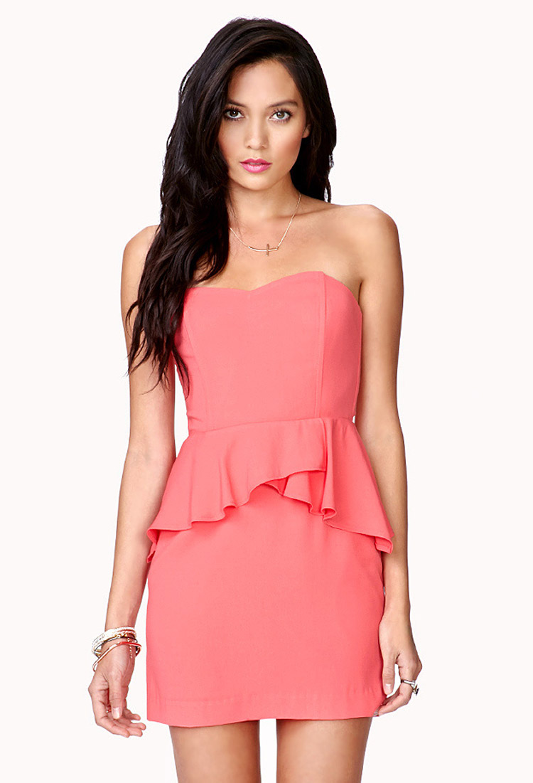 Coral strapless peplum dress new photo