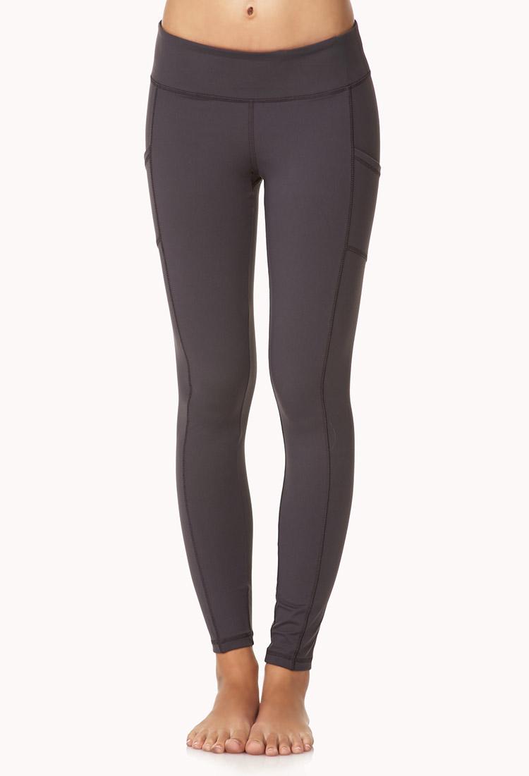 Forever 21 Side-Pocket Skinny Workout Leggings in Gray ...