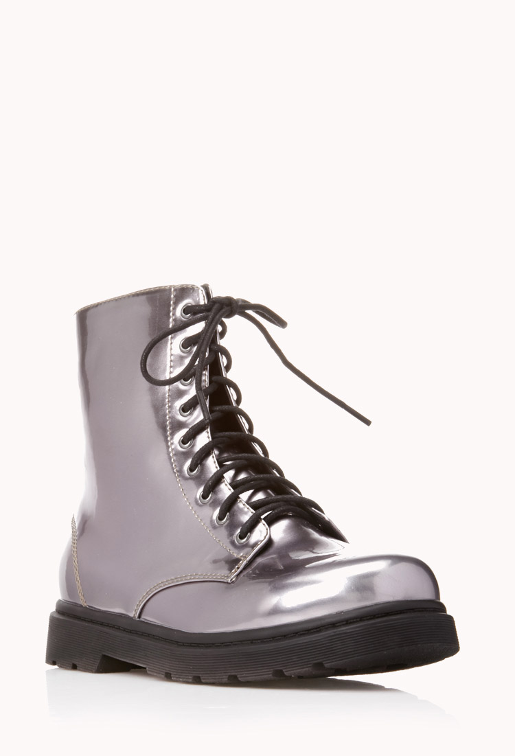 forever 21 sleek combat boots in silver gunmetal lyst