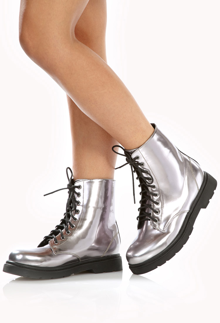 Lyst Forever 21 Sleek Combat Boots In Metallic