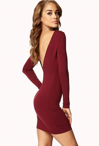 Red Open Back Bodycon Dress Back Bodycon Dress in Red