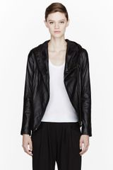 Helmut Helmut Lang Black Buffed Leather Hooded Jacket - Lyst