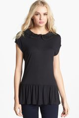 Hinge Lace Collar Peplum Top - Lyst