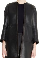 Jil Sander Three Quarter Sleeve Collarless Reversible Leather Coat - Lyst