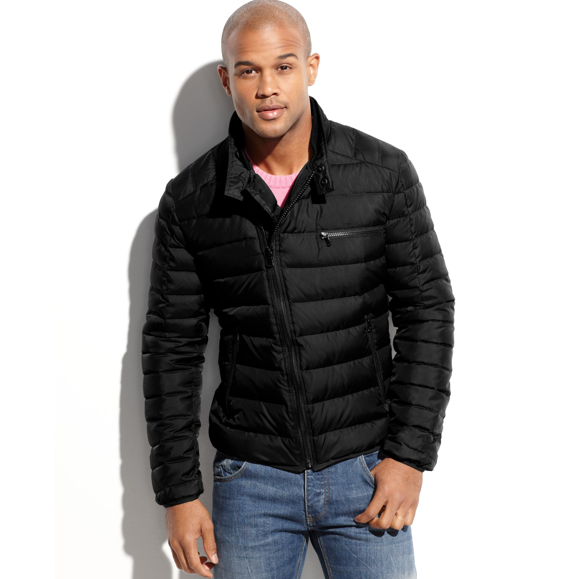 Kenneth cole Asymmetrical Down Puffer Jacket in Black for Men | Lyst