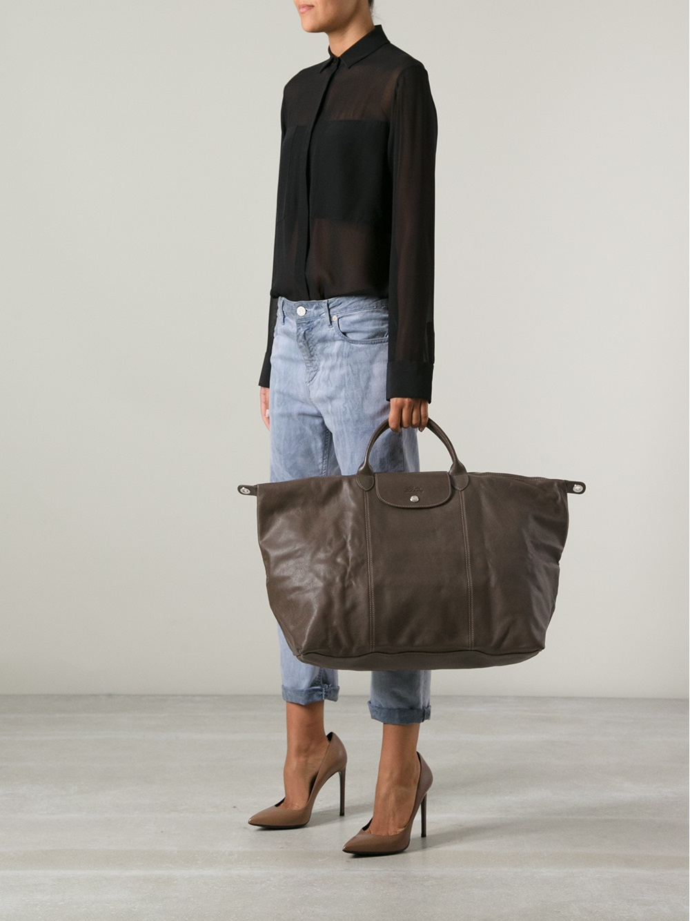 Lyst Longchamp Le Pliage Cuir Tote In Brown