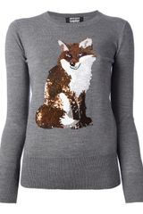 Markus Lupfer Sequin Fox Jumper - Lyst